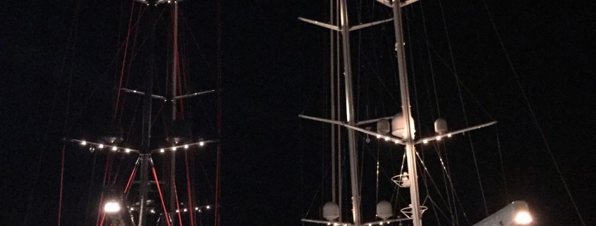 Rosehearty and Seahawk by night