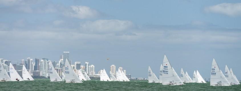 Star Class sailing at Bacardi Miami Sailing Week, day two.