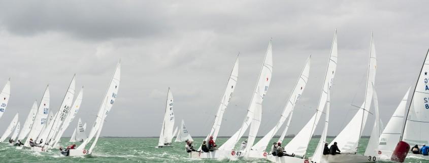 Star Class sailing at Bacardi Miami Sailing Week, day three.
